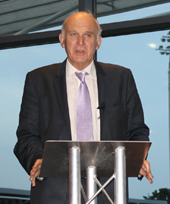 Vince Cable MP speaking at the Proact Stadium