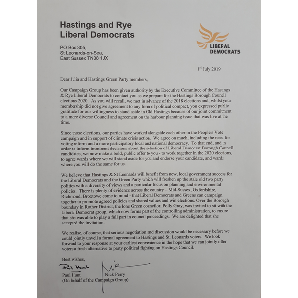 Letter to Julia and Green Party Members