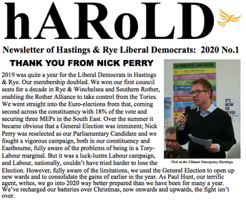 Newsletter Hastings and Rye Lib Dems no 1 2020
